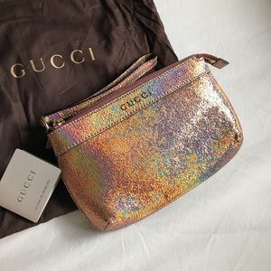 Gucci Metallic Cracked Leather Wristlet Rose Gold